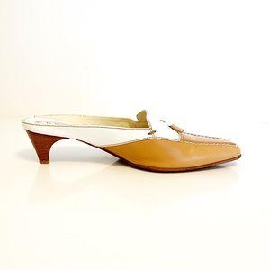 Tod's Leather Kitten Heel Mules Tan White Size 8.5